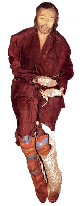 This is Cherchen Man. He stood about six feet tall, had light hair and fair skin, and he lived about 3,000 years ago in what is today the Xinjiang region of western China. He sports facial tattoos. And the world's oldest surviving pair of pants. He's among a group of mummies found in the Tarim Basin dating from between about 1900 B.C. and 200 A.D