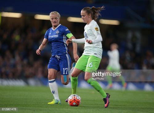 Caroline Graham Hansen of Vfl Wolfsburg tussle with Chelsea... #dnipropetrovsk: Caroline Graham Hansen of Vfl Wolfsburg… #dnipropetrovsk