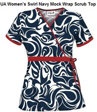 navy and red scrub top from www.uniformadvantage.com
