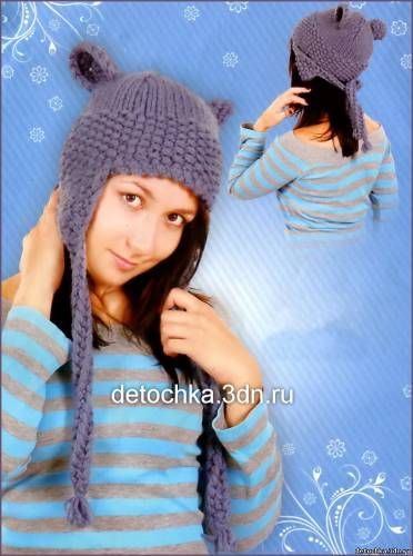 Вязаная шапка с ушками - Вязание шапок и шарфов для девочек - Вязание девочкам - Вязание для малышей - Вязание для детей. Вязание спицами, крючком для малышей