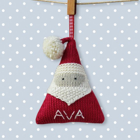 This listing is for a Knitting Pattern - NOT the finished item.    This pattern tells you how to make my stylish, personalized Santa Claus hanging Christmas decoration.    It is written for knitting flat (apart from a small i-cord) on 2 needles and seamed up afterwards. I have written it out row-by-row with step-by-step instructions and photos, making it easy to follow.    A perfect Christmas gift to make, with that extra special personal touch.    Finished size: 10.5cm/4 inches tall (not…
