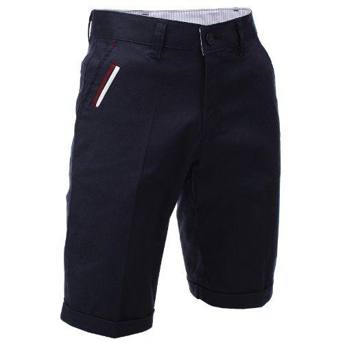 FLATSEVEN Homme Slim Fit Chino Pantalon Short Bermuda Coton premium (CH198S) Marine, L #FLATSEVEN #vetement #fashion #homme #shorts #bermuda