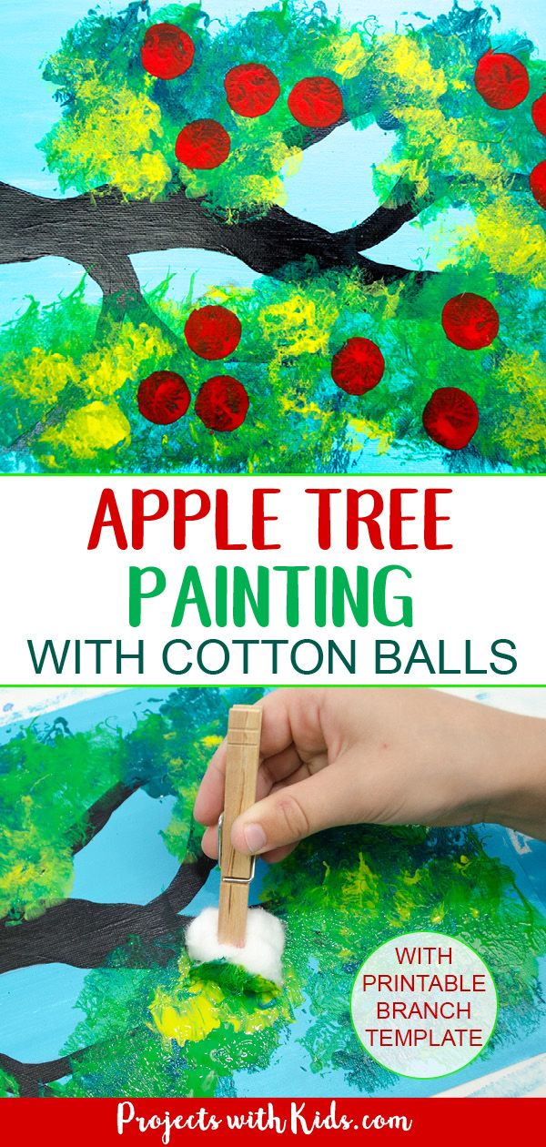 Apple Tree Painting with Cotton Balls