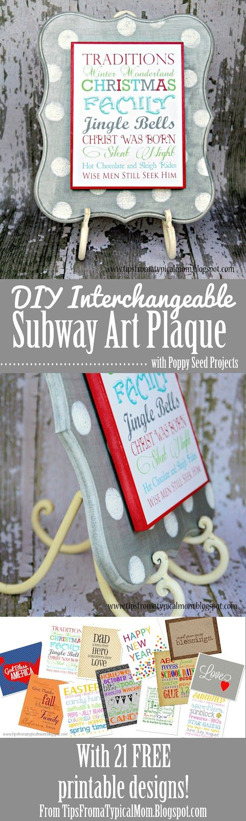 {Poppy Seed Projects} DIY Interchangeable Subway Art Plaque - Tips from a Typical Mom