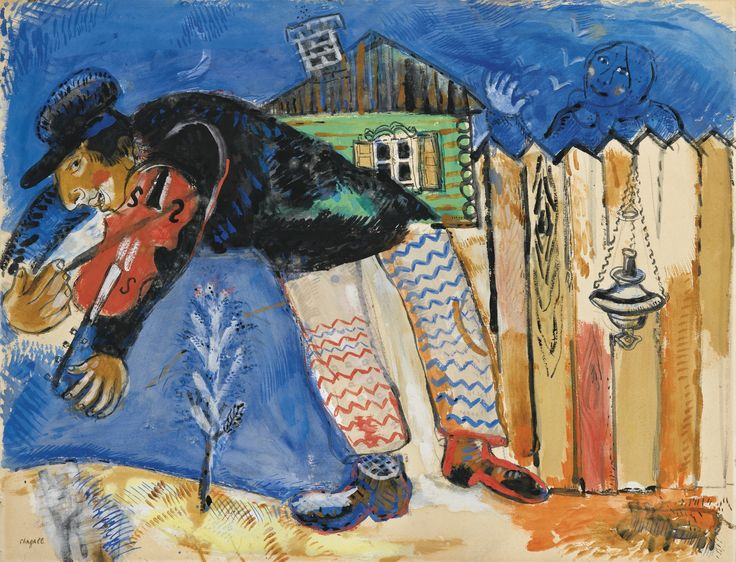 Marc Chagall 1887 - 1985 LE VIOLONISTE Signed Chagall (lower left) Gouache, India ink and charcoal on paper 19 1/4 by 25 1/4 in. 49.5 by 65 cm Executed in 1926-27.: