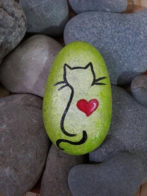 Grüne gemalte Steinkatze Schwarze Katze gemalte Steinkatze Malerei # gemalt –