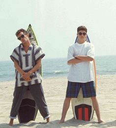 Luke Perry and Brian Austin Green - posing on set of 90210 in the early years of the sh0w