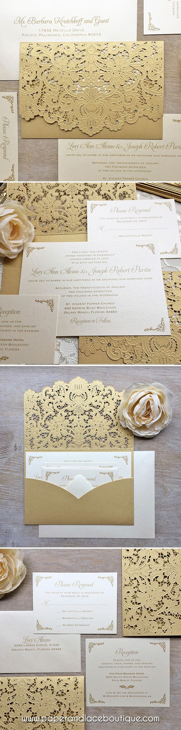 cheap0th wedding anniversary invitations%0A LORI  Gold Laser Cut Pocket Wedding Invitation  Metallic Gold Laser Cut  Envelope with Ivory
