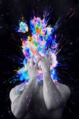 Poom, Illustrations of Explosive Color Obscuring a Person's Face