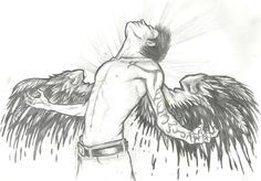 how to draw fallen angels | Angel Drawings Pencil Sword