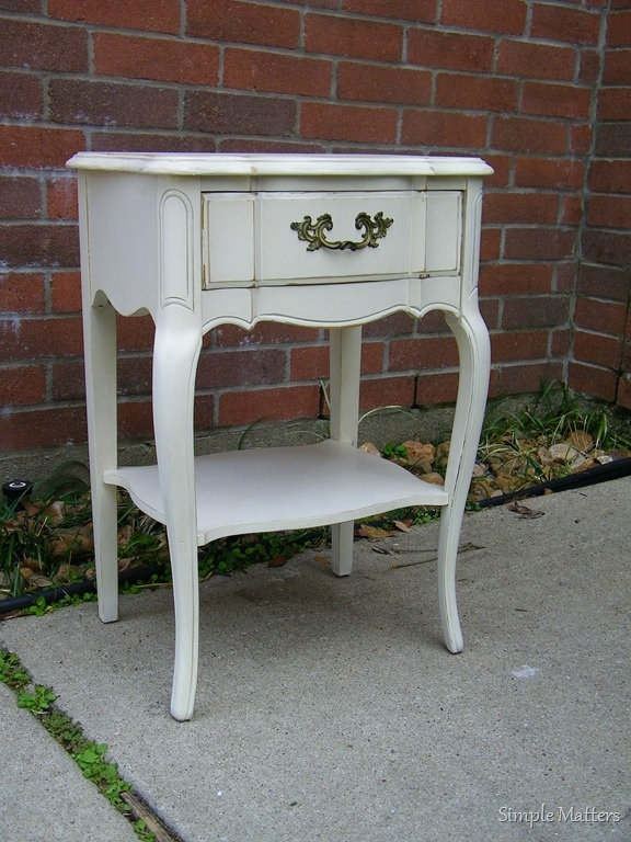 Creamy white french side table