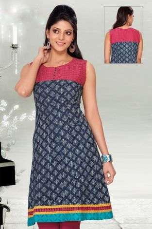 Amazing, stylish, fancy elegant blue & pink color elegant dabu printed casual kurti to make any women look sexy and fashionable. this kurti can give you a cool look.
