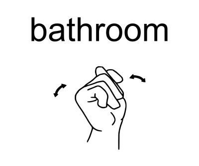 """Bathroom: Make the letter """"T"""" by placing your thumb between your index and middle fingers, then shake your """"T"""" hand from side to side. This is also the sign for """"toilet""""."""