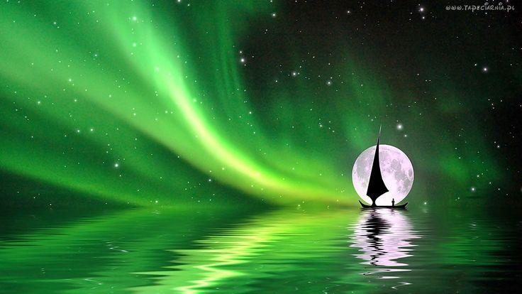 Zorza, Polarna, Księżyc, Gwiazdy, Morze, Łódka