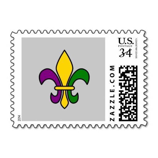 Mardi grass fleur-de-lys postage stamps