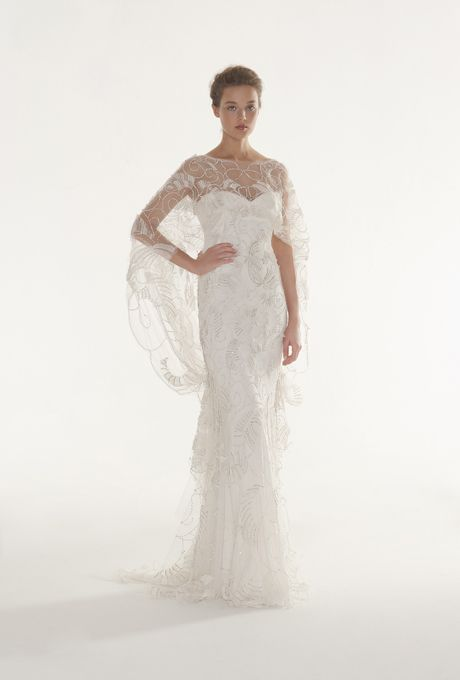 "Brides: Langner Couture - Fall 2013""Magic Moment"" embroidered organza mermaid wedding dress with a sweetheart neckline and draped tulle cape, Langner Couture See more Langner Couture wedding dresses in our gallery. Featured In: Langner Couture - Fall 2013"