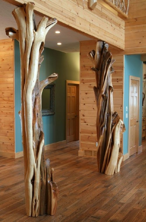 Cabin decor, Hand Carved Fireplace Mantels, Juniper Log Decorative Columns, Barnwood Mantel