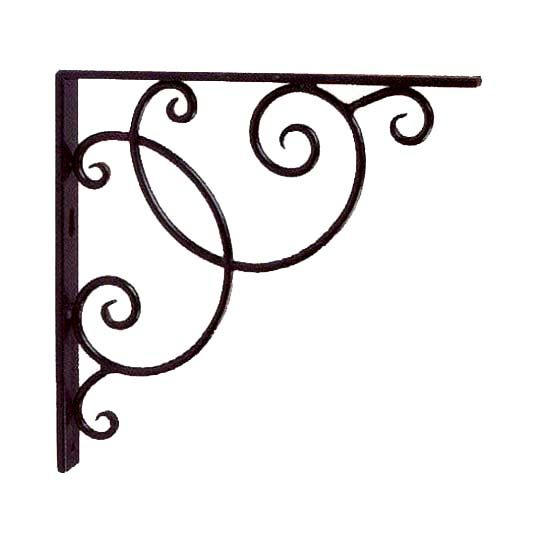 """More delicate in appearance, the Scroll Book Shelf Bracket is still a sturdy investment. Made of hand forged wrought iron with a black powder coat finish, this 10"""" by 10"""" set of two swirled shelf hand..."""