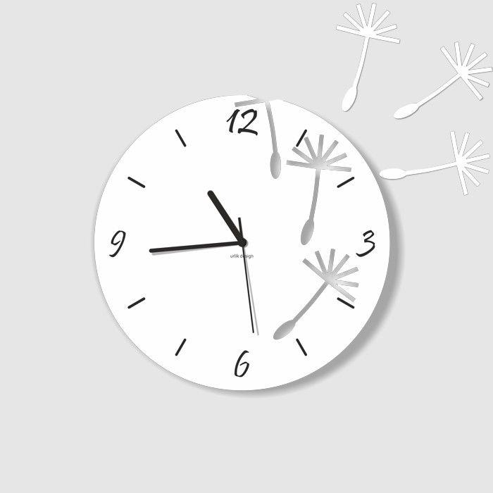 Dekoracyjny zegar ścienny Urlik Design Dmuchawce, biały ◾ ◾ PrezentBox