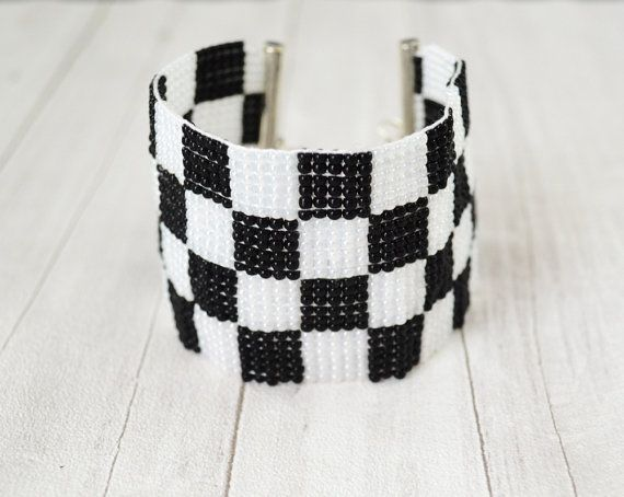 Checkerboard Bracelet black and white woven on a loom black