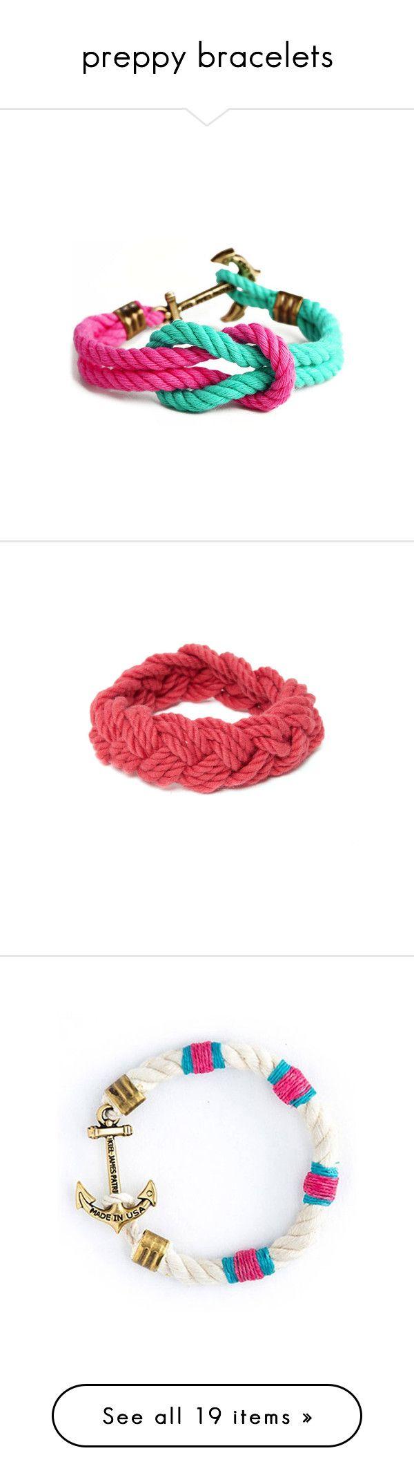"""""""preppy bracelets"""" by okieprep ❤ liked on Polyvore featuring jewelry, bracelets, bracelet bangle, bracelet jewelry, sailor knot bracelet, sailor rope bracelet, pandora bracelet, jade bangle, red jewelry and pandora charms"""