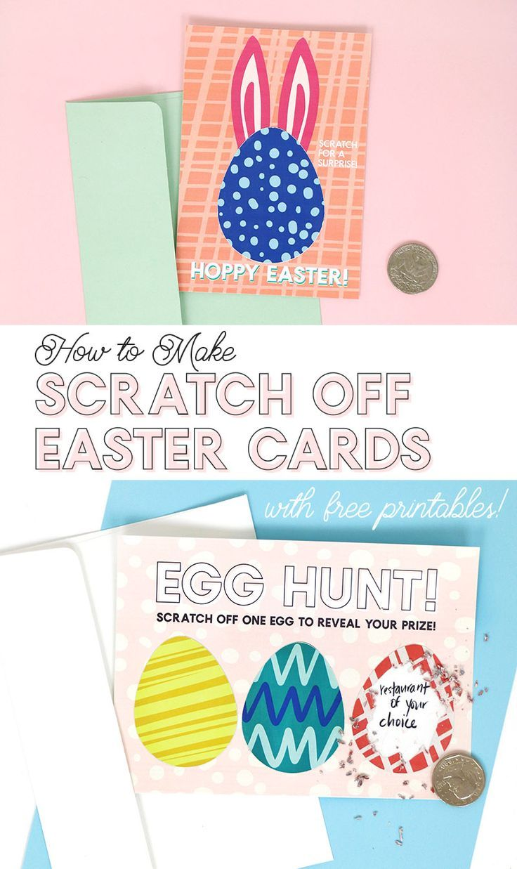 how to make diy scratch off cards with colors and patterns - free printable easter cards #silhouette #easter #easterprintables #eastercrafts