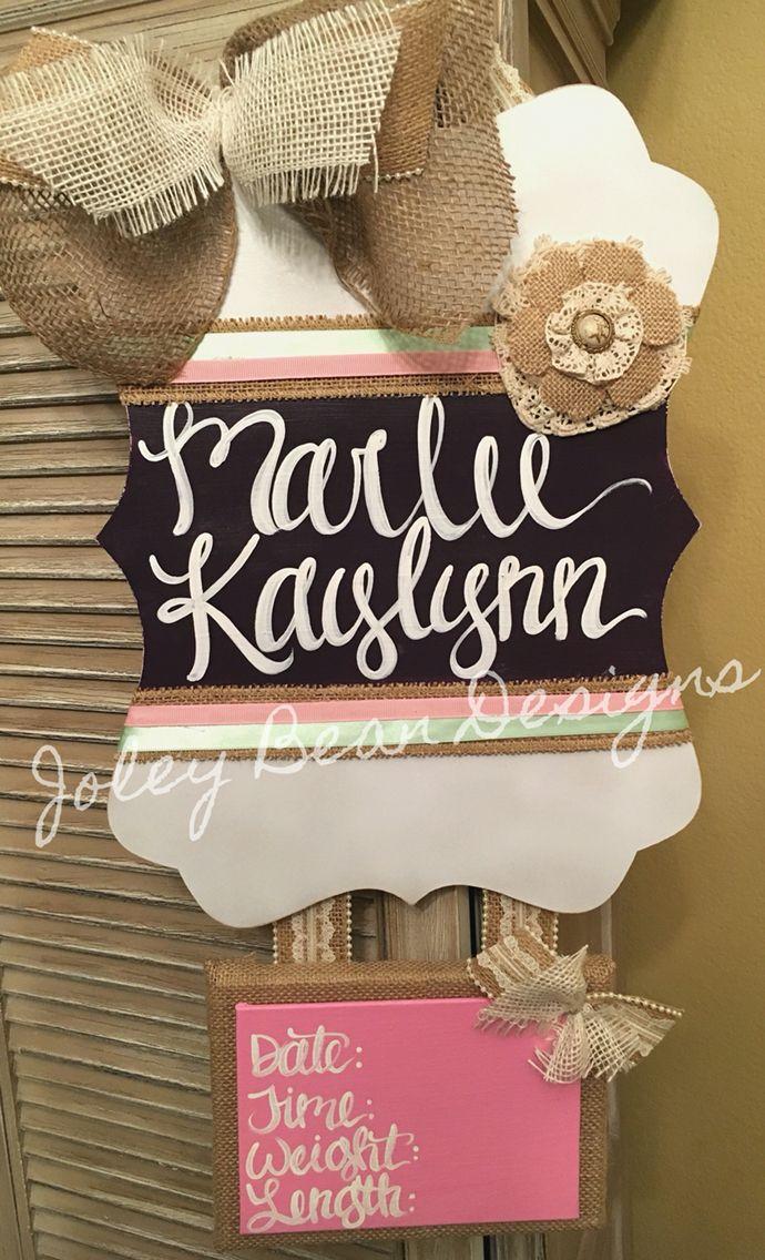 Joley Bean Designs, by Kassidy, baby girl door hanger, hospital door hanger