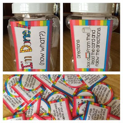 A jar full of activities for early finishers! love idea, I want to place one at each table so no one needs to get up and they can be more customized to the students specific need