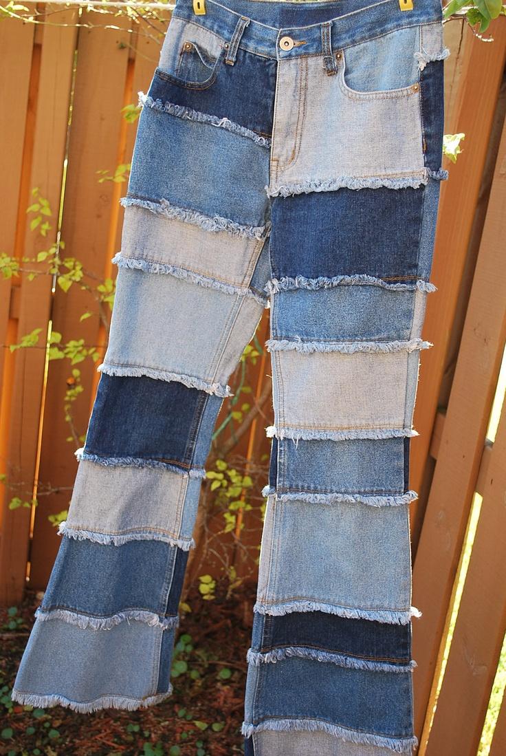 Blue Denim Patchwork Quilt Patch Hippie Jeans Small Retro