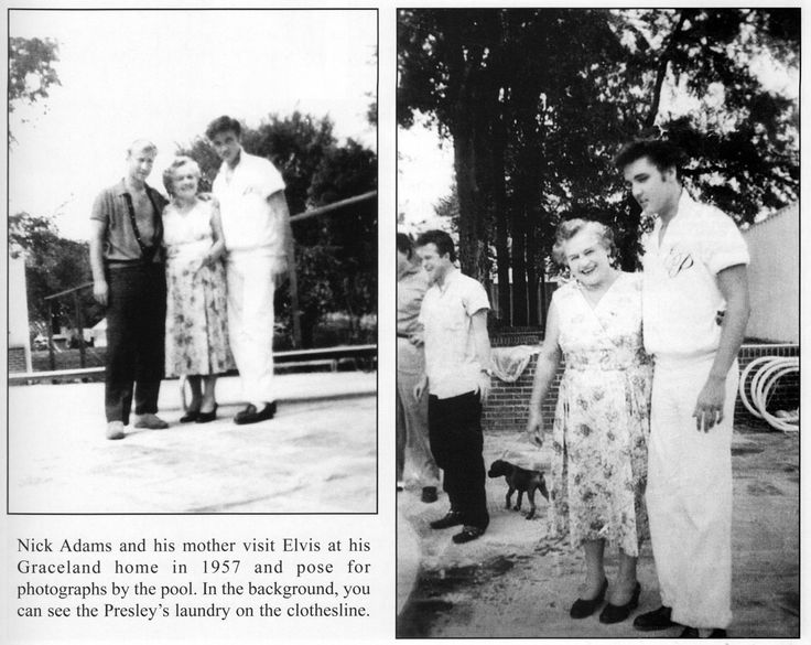 """Memphis, TN, Friday August 9, 1957: Actor Nick Adams (""""Rebel Without a Cause"""") and his mother, Catherine Adamshock (neé Kutz, April 17, 1010 – March 1995), visit Elvis and his parents at Graceland. (Thnx to hilton22000 on FECC Forum for the pix.)"""