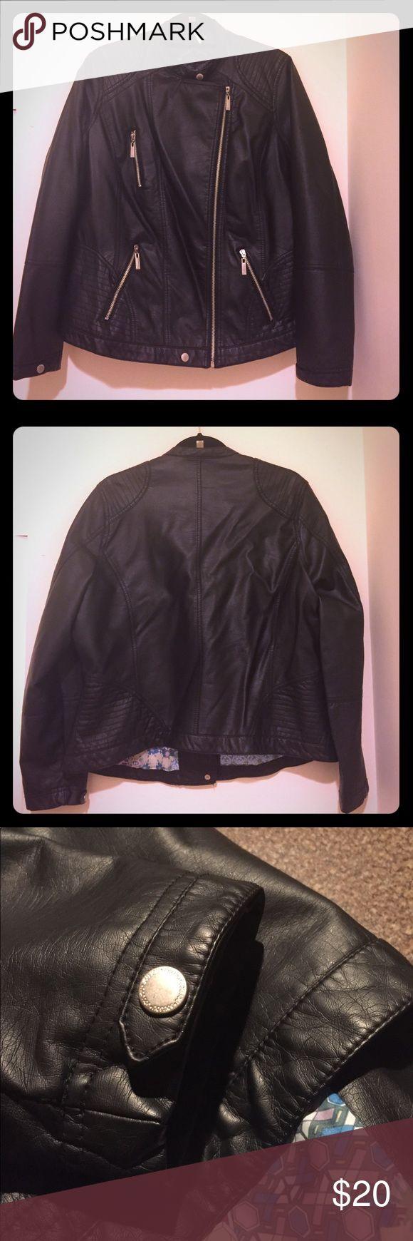 EUC. Faux leather peplum motorcycle jacket EUC. Faux leather peplum motorcycle jacket. Zip pockets. Jou Jou Jackets & Coats