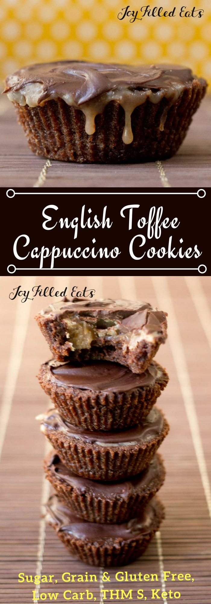 English Toffee Cappuccino Cookies - Low Carb, Grain Gluten Sugar Free, THM S, Keto - With a mocha cookie cup filled with caramel toffee and topped with chocolate, these English Toffee Cappuccino Cookies need a place on your cookie tray.