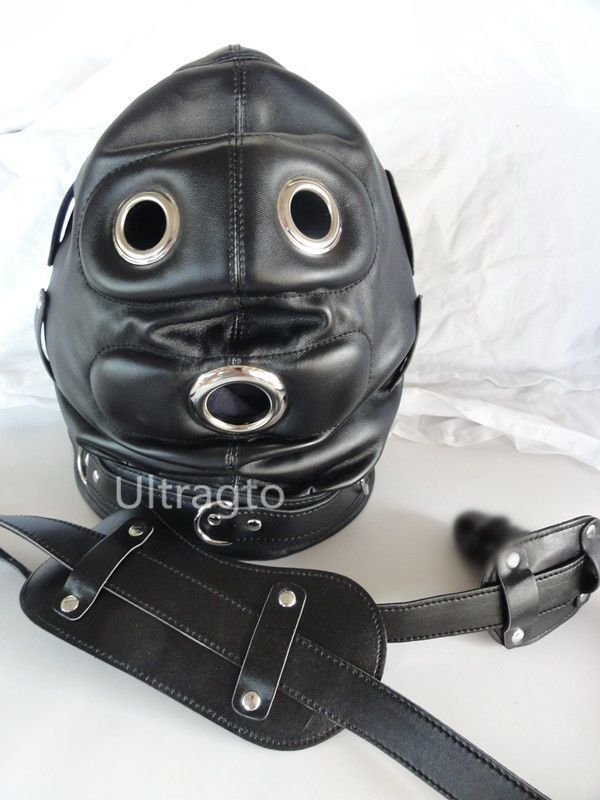 New Mouth Gag PU Leather Full Gimp Open Eyes Hood Mask Padded Locking Costume
