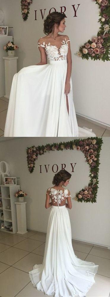 Elegant Wedding Dresses Sweep Train High Leg split White Wedding Dress with Appl…