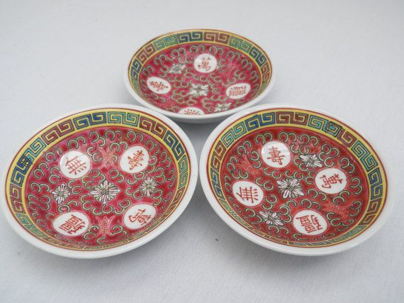 Vintage Set Of 3 Porcelain Chinese Mun Shou Rose Longevity Pattern    Dipping Sauce Bowls Asian Oriental Serving Tableware Collectible Decor
