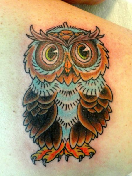 Traditional owl tattoo from Mike Culley at Cheyenne ...