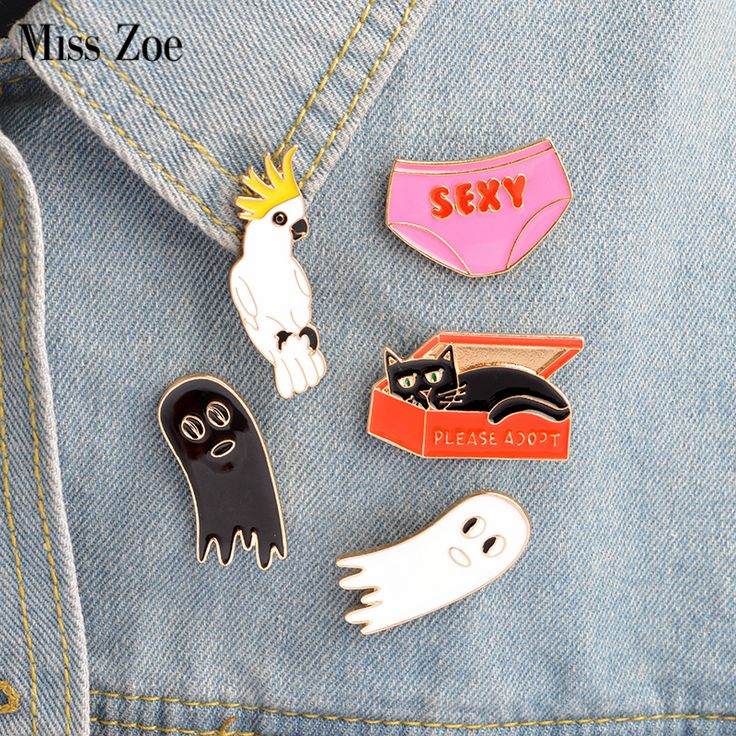 Miss Zoe 5pcs/set Adopt Cat in Box SEXY Underwear Parrot Ghost Brooch Denim Jacket Pin Buckle Shirt Badge Gift for Friend #Affiliate