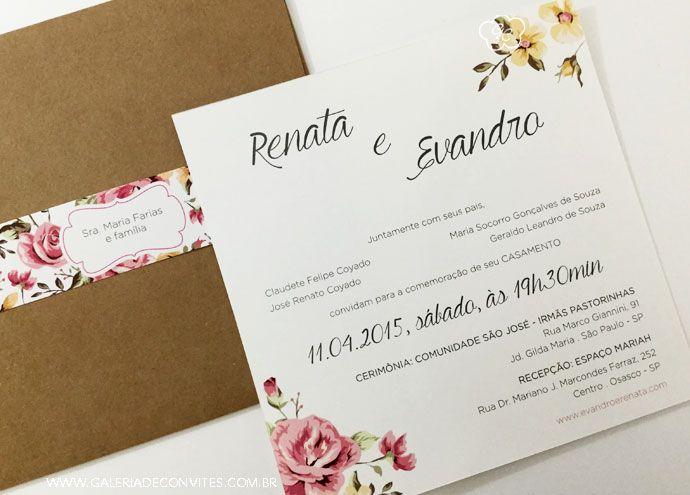 Convite de casamento vintage. Convite de casamento vintage floral nas cores rosa, verde e amarelo. Envelope de casamento em papel kraft.