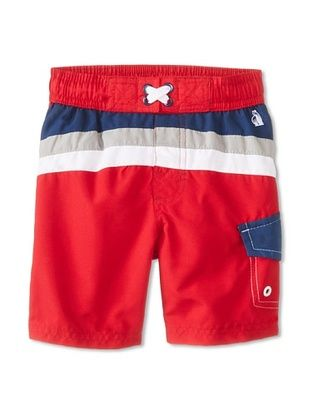 48% OFF Wippette Kid's Stripe & Colorblock Board Short (Red)
