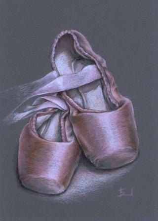 Pointe shoes - original coloured pencil drawing by Tanya Bond would make a fantastic gift for anyone who loves ballet