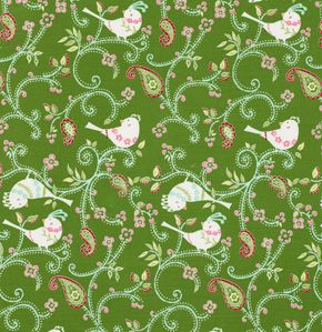 A sweet retro lovebird print - would look beautiful as a kitchen window valance.  The birds measure 4cm.
