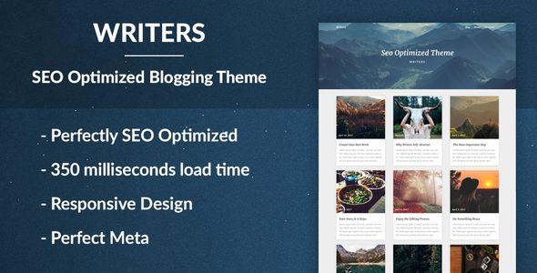 Writers - SEO Optimised Writing Theme - Personal Blog / Magazine