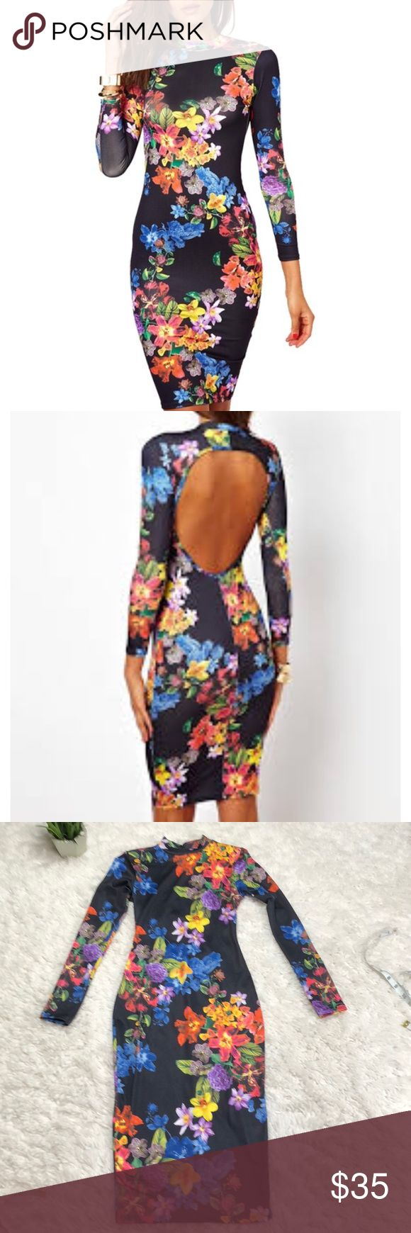 Asos 'petite' body con long sleeve midi dress Sexy body hugging open back floral high neck midi dress. Petite on label but longer length can fit regular size 0 or xs as well  Sexy date night girls night out party dress ASOS Dresses Long Sleeve