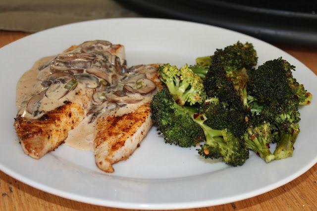 Food I Make My Soldier: Grilled Tilapia with Mushroom Sauce(use yogurt & olive oil)