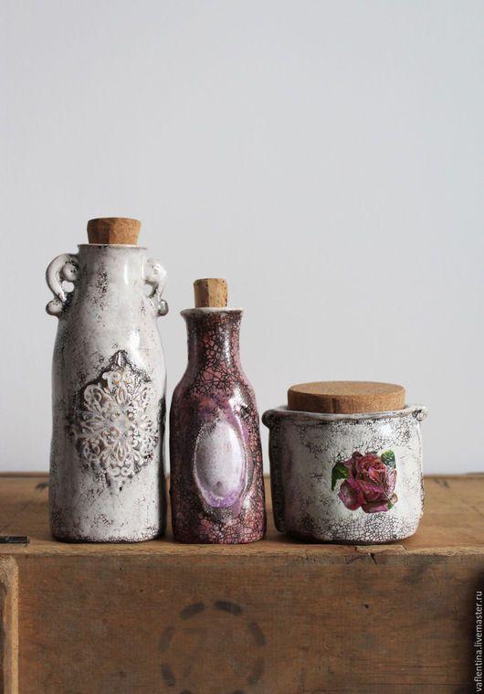 """Ceramic bottles / Вазы ручной работы. Ярмарка Мастеров - ручная работа. Купить """"ANTIQUE """"флакончики керамические. Handmade. Бледно-розовый, старинный стиль"""