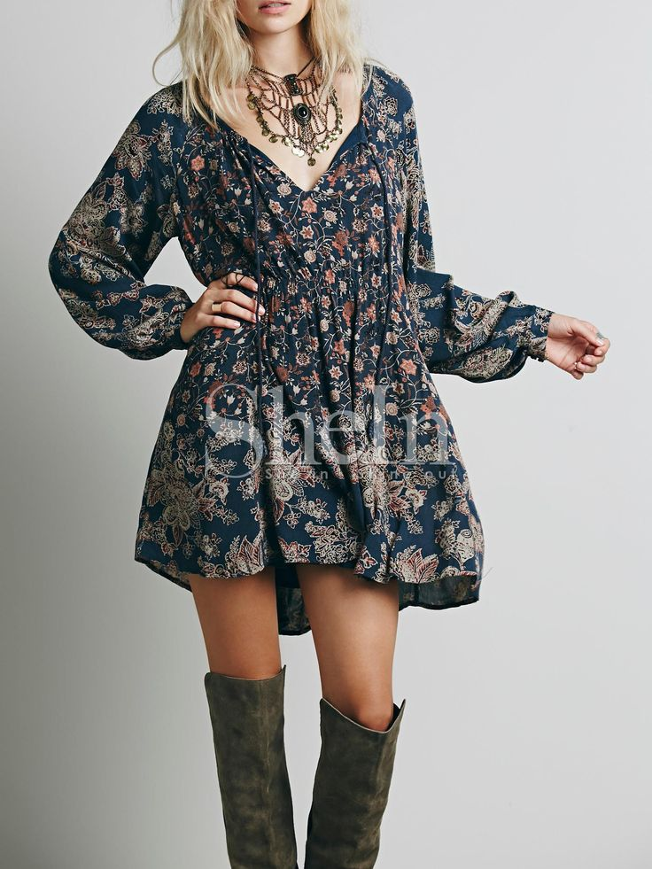 Shop Navy Long Sleeve Vintage Print Dress online. SheIn offers Navy Long Sleeve Vintage Print Dress & more to fit your fashionable needs.