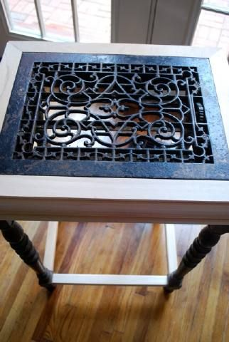 salvaged heat grate table