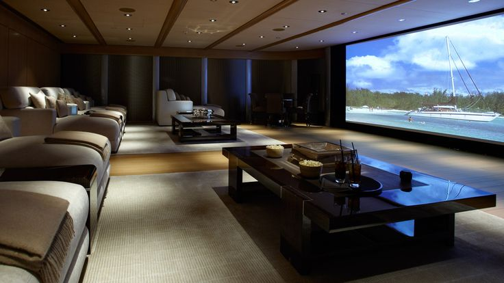 L - Delightful Interior Design Ideas For Movie Theater Room With Rectangular Black Stained Coffee Table On Gray Carpet Plus White Ceiling With Lighting ...