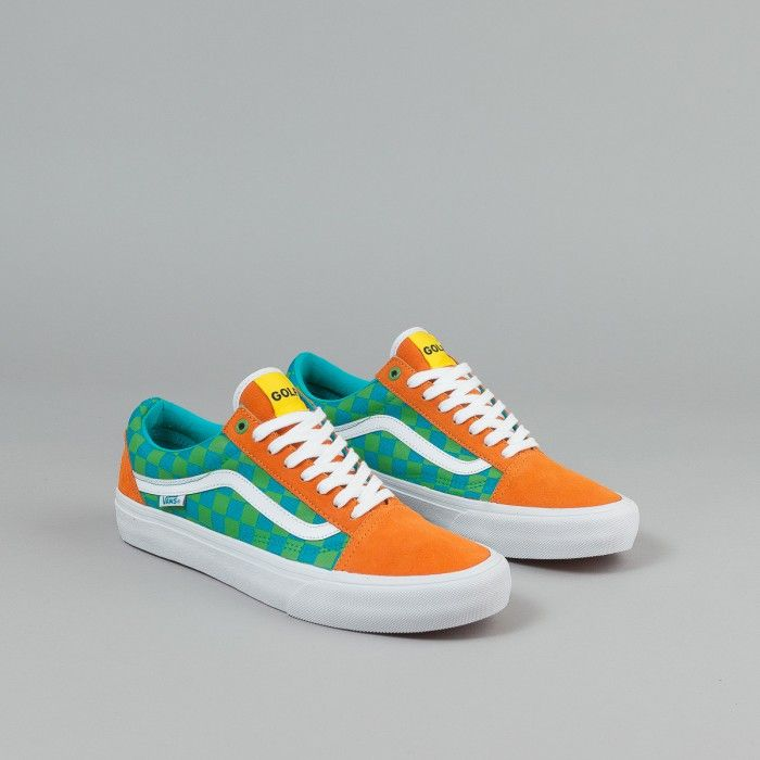 Vans Old Skool Pro Shoes (Golf Wang) - Orange / Blue / Green | Flatspot