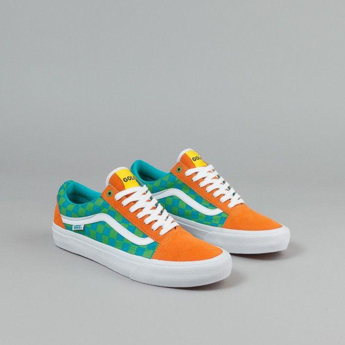 Vans Old Skool Pro Shoes (Golf Wang) - Orange / Blue / Green   Flatspot